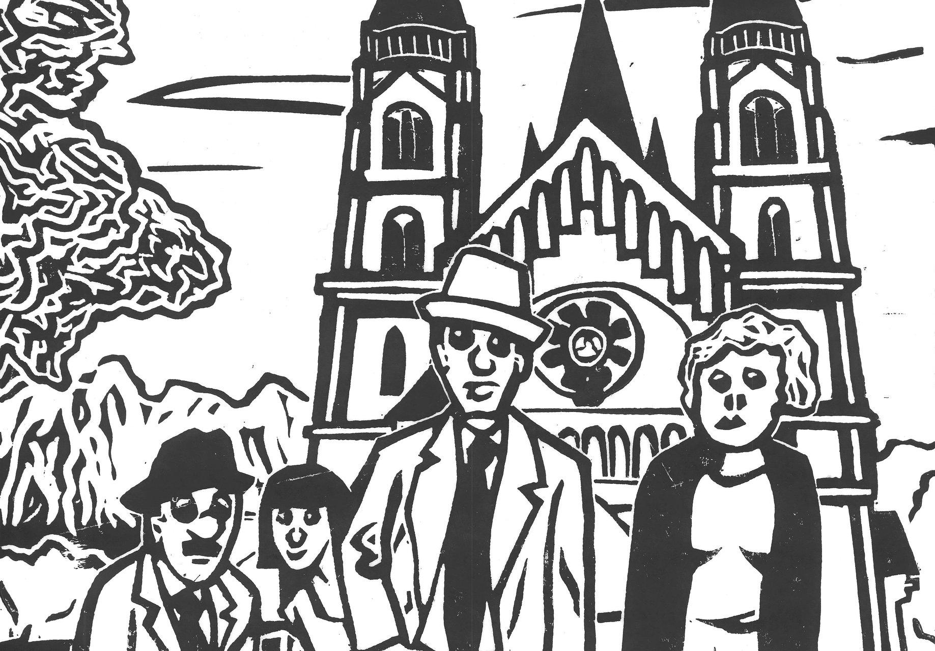 © Thomas Fatzinek Menschen am Mexikoplatz. Detail aus Linolschnitt